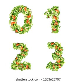 Numbers 0 1 2 3, made of salad and vegetables, isolated on white