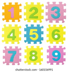 numbers from 0 to 9  created from Alphabet puzzle isolated on white background , with clipping path.