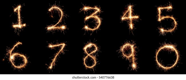 Numbers 0 to 9 created using a sparkler