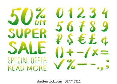 Numbers 0-9 written with a brush on a white background lettering. Super Sale. Big sale. Sale tag. Sale poster. Super Sale and special offer. 50% off. illustration. art