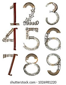 Numbers from 1, 2, 3, 4, 5, 6, 7, 8,  9, assembled from metallic parts