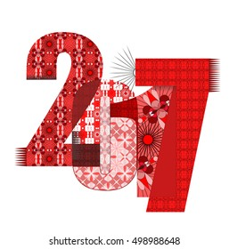 The numbers 2017 with designer ornaments. Symbol of the New Year.