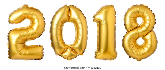 numbers 2018 made of  golden balloons isolated on white background