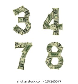 Numbers 3, 4, 7, 8 made of dollars isolated on white background