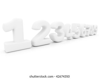 Numbers in 3D isolated over a white background