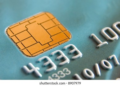 Numbers and chip on a credit card