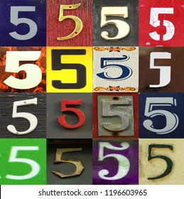 Numbers collection 5 in different colours and patterns as wood, paper and brick