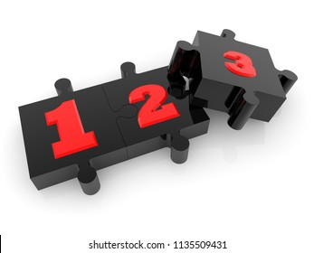 Numbers concept on black puzzle.3d illustration