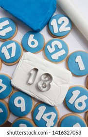 Numbers cookies, decorated with fondant, sugar paste. Turn 18 Majority of age. Party. Celebration.