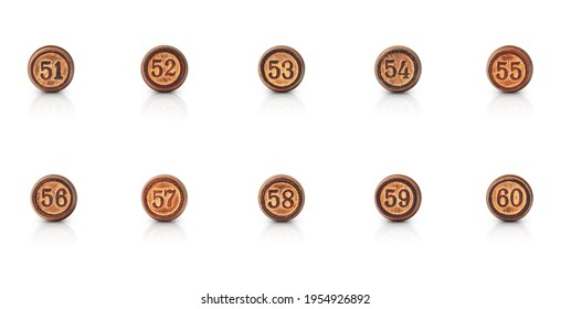 the numbers from fifty-one to sixty carved in round pieces of wood are isolated on a white background with shadow and reflection