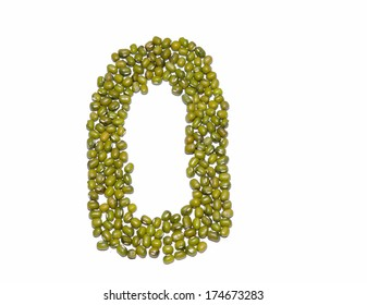 Numbers green beans isolated from white background.