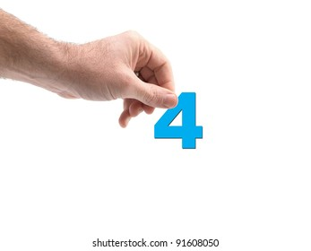 Numbers held by a hand isolated against a white background