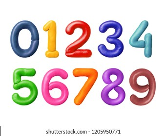 Numbers are made of colored plasticine
