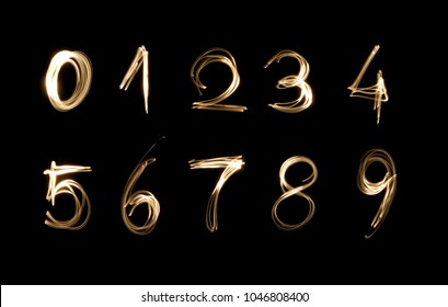 numbers made with a Flashlight