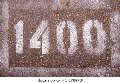 the numbers on the asphalt 1400