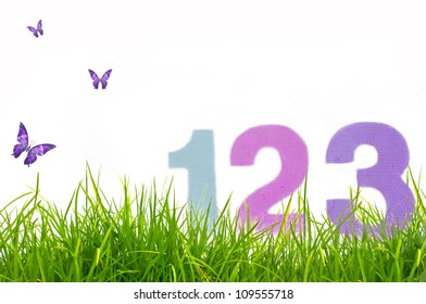 Numbers on the grass. Back to school