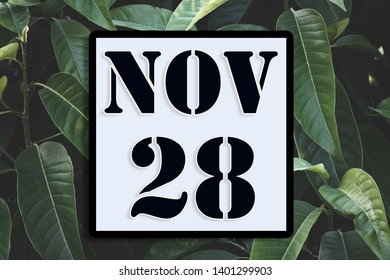 Numbers on November 28 th.  or twenty-eighth. Concept:Calendar. date of the year. date and time,Work schedule ,Deadline, Important day, anniversary, holiday, Diary Concept:Calendar.