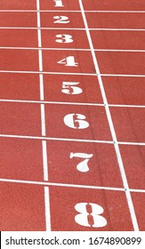numbers from one to eight of the athletics track lane