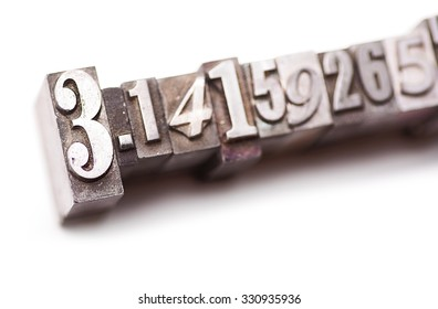 "The numbers of """"Pi"" in letterpress type. Cross processed, narrow focus."