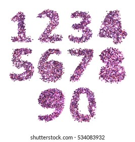 Numbers of purple glitter on white background