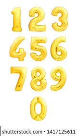 Numbers set made of golden inflatable balloons. Balloon numbers from zero to nine