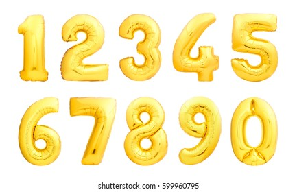 Numbers set made of golden inflatable balloons