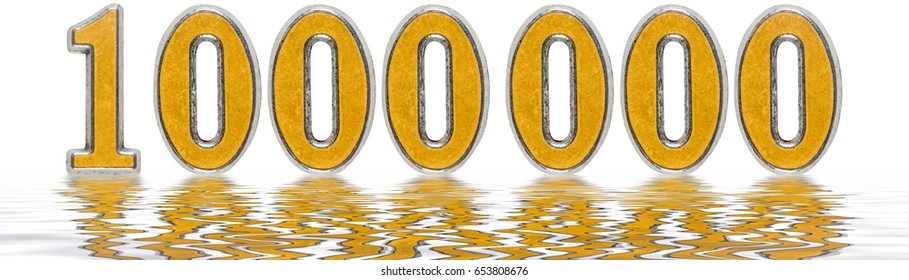 Numeral 1000000, one million, reflected on the water surface, isolated on white, 3d render