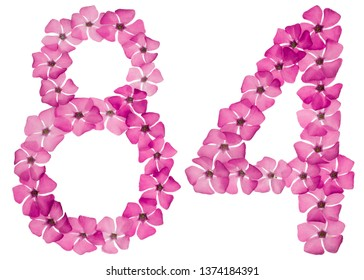 Numeral 84, eighty four, from natural pink flowers of periwinkle, isolated on white background