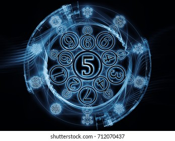 Numeric Connection series. Abstract composition of number and fractal geometry symbols suitable in projects related to magic, math and occult