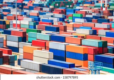 numerous containers in the seaport