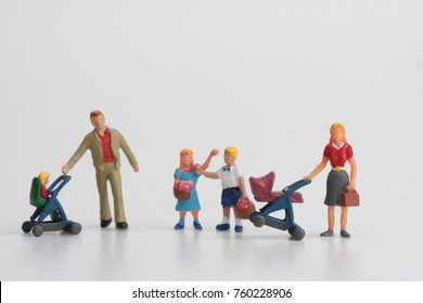 numerous family with children miniatures