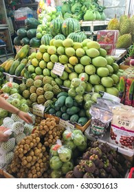 Numerous kind of fruit on shelf in a large local market in ho chi minh city , Vietnam , April 14  2016