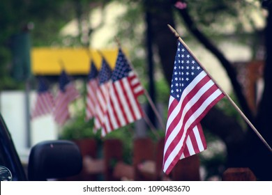 Numerous Small American Flags