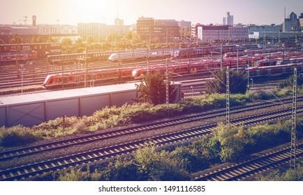 Numerous trains on the railway