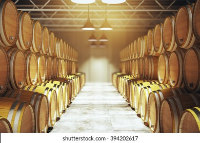 Numerous wooden barrels in winery. 3D Render