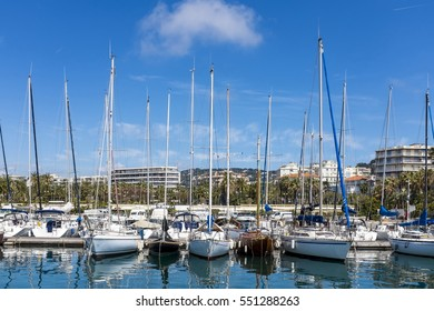 Numerous yachts in the Port of Pierre Canto, Cannes, France