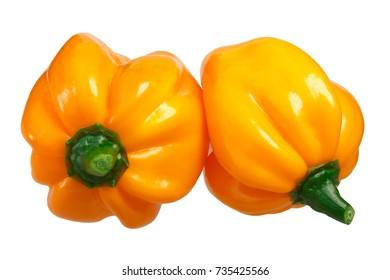 Numex Suave Orange chile peppers (Capsicum chinense, Habanero type). Clipping path