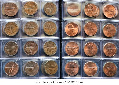 Numismatic collection of one Lincoln cent. Currency of the United States of America.
