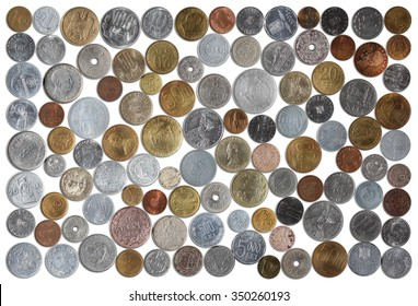 Numismatic Collection Of Romanian Coins From Various Years On A White Background