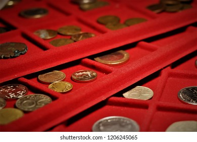 Numismatic job. Coins collection, investment. Accessories are visible in the background.