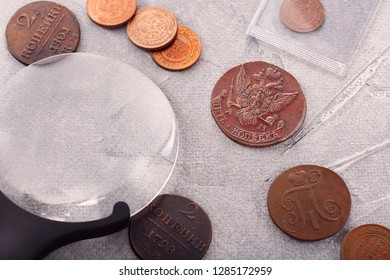 numismatics, collect old coins. Top view.