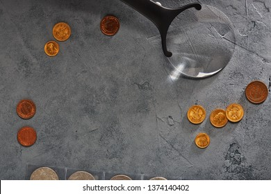 numismatics, collect old coins. Top view