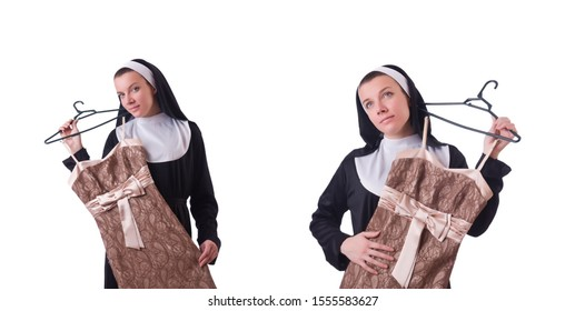 Nun choosing clothing on the hanger isolated on white