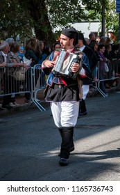 Nuoro, Sardinia, Italy - August 26 2018: Musician in the parade of traditional costumes of Sardinia on the occasion of the Feast of the Redeemer of the August 26, 2018 in Nuoro, Sardinia.