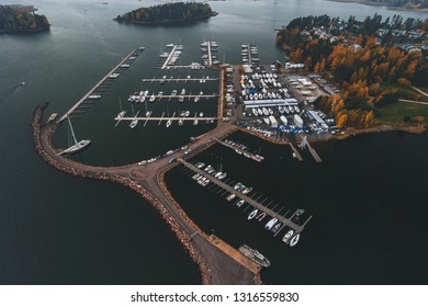 Nuottaniemi marina seen from air on a foggy autumn day, Espoo Finland