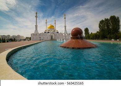 Nur Astana Mosque in Astana, Kazakhstan. It is the second largest mosque in Kazakhstan
