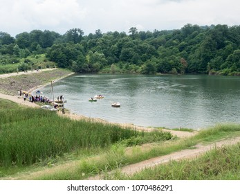 Nur, Iran - July 25, 2016 : Reservoir at Nur forest park. The park is located in northern Iran, next to Caspian sea, and is a popular tourist attraction