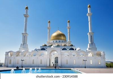 Nur-Astana Mosque in Astana.  It is the second largest mosque in Kazakhstan