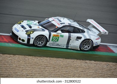 NURBURG, GERMANY - AUGUST 29: French race car driver Patrick Pilet driving the Porsche Team Manthey 911 RSR No. 92 during round 4 of the FIA WEC on August 29, 2015 at Nurburg, Germany.
