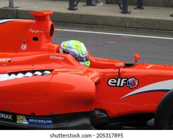 NURBURG, GERMANY - JULY 12, 2014:  British racing driver William Buller (Arden Motorsport) driving through the pitlane during the World Series by Renault event on July 12, 2014 at Nurburg, Germany.
